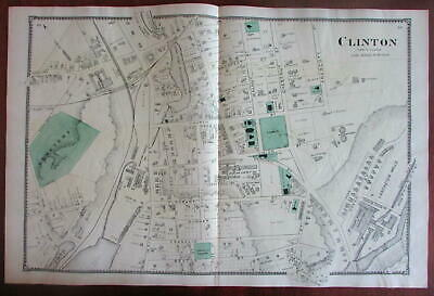 Town of Clinton 1870 Worcester Co. Mass. detailed map