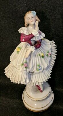 Antique Germany Dresden Porcelain Lace Woman Ballerina Dancer Figurine 8-1/2""