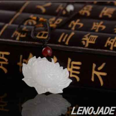 Very Fine Chinese Natural White HeTian Jade Hand-carved Lotus Flower Pendant
