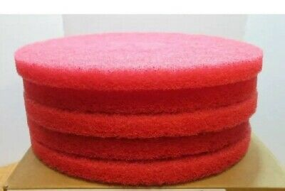 "(5) 13"" Cleaning Premium Red 13"" Floor Buffing / Scrub Pad Case  Box Lot"