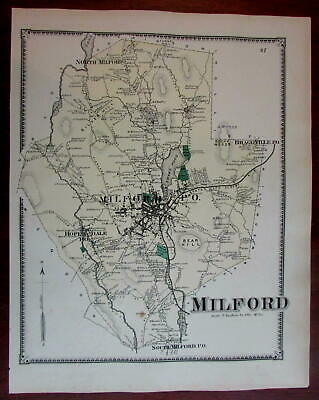 Milford 1870 Worcester Co. Mass. detailed map