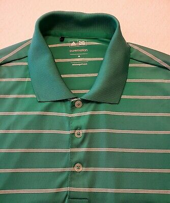 Adidas Golf Mens Green Striped Short Sleeve Polo Rugby Shirt Medium Puremotion