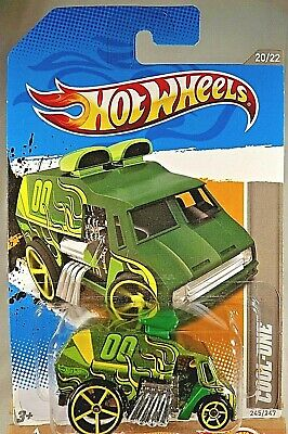 2012 Hot Wheels #245 HW Code Cars '12 COOL-ONE Green w/Lrg-Sm Yellow OH5 Spokes