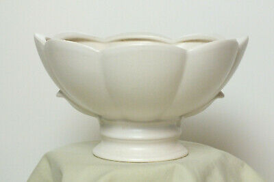 Vintage White Mid Century Hyalyn Pottery Footed Bowl 1950's - 1960's