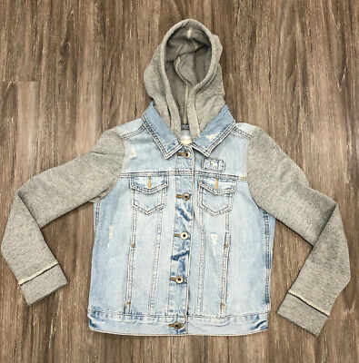 Abercrombie Kids Girls Twofer Distressed Denim Jacket Size 11/12 EUC
