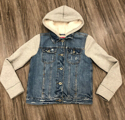 Abercrombie Kids Girls Twofer Fleece Lined Denim Jacket Size 11/12 EUC