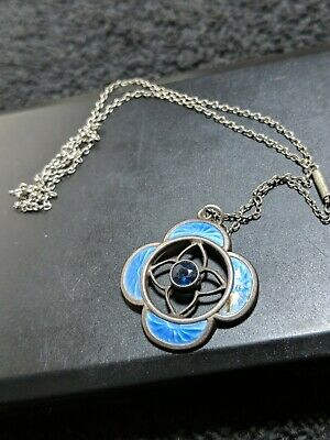 Necklace With Pendant Sapphire Stone Silver And Enamel Blue Pendent