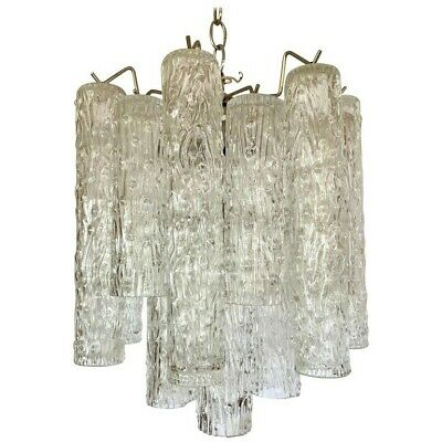 Mid-century Modern Camer Glass Venini Tubular Chandelier (missing 1 crystal)