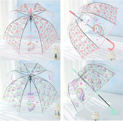 Kids Unicorn Umbrella Girls Colourful Pink Transparent Clear Bubble Dome School
