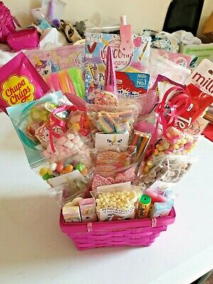 Unicorn gift basket hamper headbands sweets chocolate something different pink