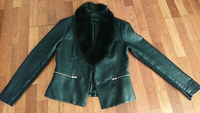 gorgeous ladies faux leather fitted blazer see write up new look size 16