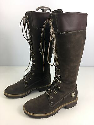 Womens Timberland Brown Suede Leather Lace Up Knee High Boots Shoes Us 6W Uk 4