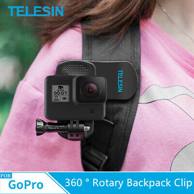 TELESIN For GoPro Hero Travel Accessories 360 ° Rotary Backpack Clip Clamp Mount