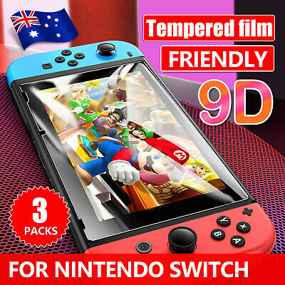 3 Pack Nintendo Switch 9H HD 3D Clear Screen Protector Tempered Glass Film Guard