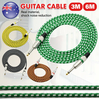 20FT 6M Guitar Lead 2 Right Angle Jack Noiseless Braided Tweed Instrument Cable
