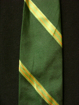 Vintage 1950'S-1960'S Silk Dark Green Michael Kay Label Striped Tie
