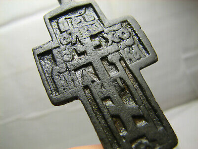 Rare ! Authentic ! Big.relief! Late Medieval Bronze Cross Pendant #1470
