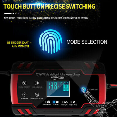 Automatic Electronic Car Battery Charger 12V/24V Fast/Trickle/Pulse LCD Display