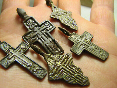 Prayer ! Authentic ! Relief! Late Medieval Bronze Cross Pendant #1473