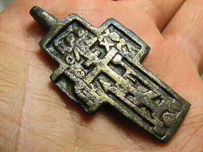 Big ! Very Rare ! Authentic ! Late Medieval Orthodox Bronze Cross  #1513