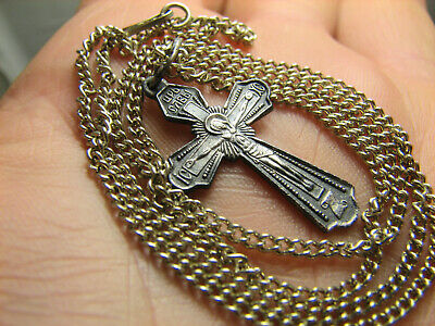 CRUCIFIXION ! STERLING SILVER  VINTAGE CROSS PENDANT with CHAIN #1527