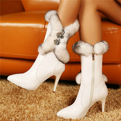 Womens Cow Leather Pointed Toe Ankle Boots Warm Rabbit Fur High Heel Pumps Shoes