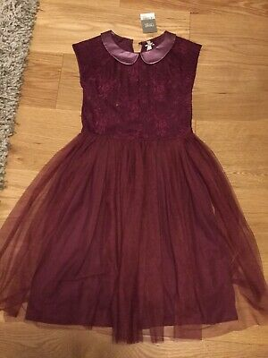 Next Girls Burgundy Dress Age 9 Years Brand New With Tags