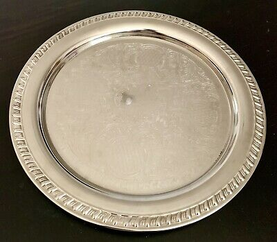"""Vintage Leonard Italy Silver EP Round 12"""" Ornate Serving Tray"""