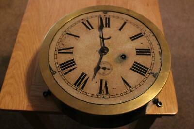 Antique Bulkhead Wall Clock Painted Dial Works For Short Periods Spares / Repair