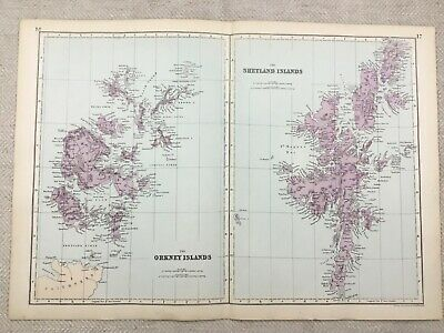 1891 Antique Map of The Shetland Islands Scotland Orkney Victorian Original