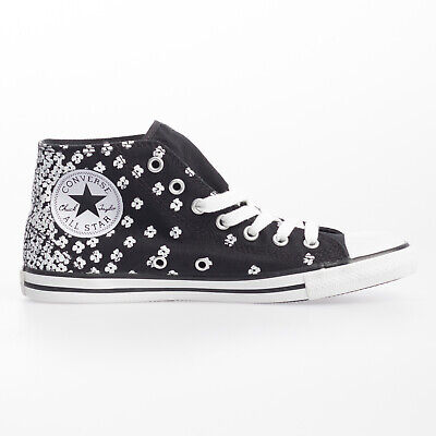 Women's Black & White Converse All Star Dainty Mid Canvas at
