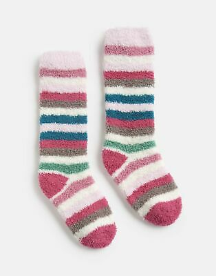 Joules Girls Fluffy Socks - PINK MULTI STRIPE