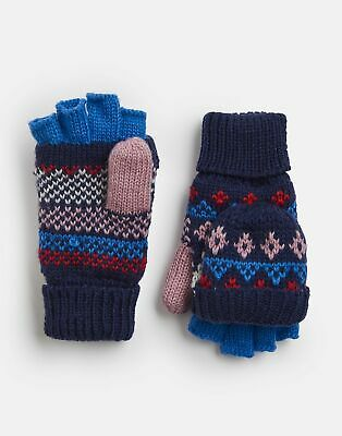 Joules Girls Fallbury Fairisle Gloves - NAVY HORSE