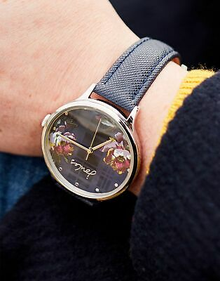 Joules Womens Payton Ladies Leather Strap Watch in NAVY PEONY in One Size