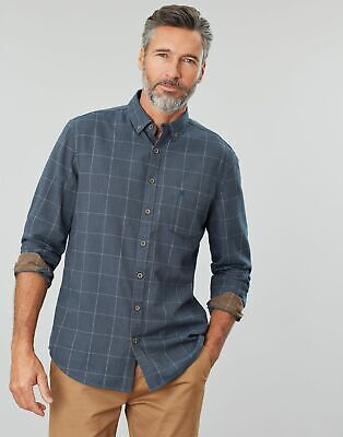Joules Mens Barbrook Long Sleeve Classic Fit Flannel Shirt in NAVY OVERCHECK