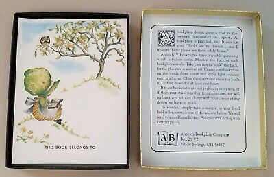 Vintage Antioch Bookplate Company Box of Book Plates~Girl Tree Owl~Made USA