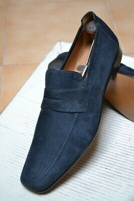 Scarpe MORESCHI N.43,5 UK9,5 NEW Made in ITALY HANDMADE Fatte a mano Loafer Blue