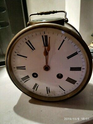 Antique Brass Cylinder Carriage Clock with Key