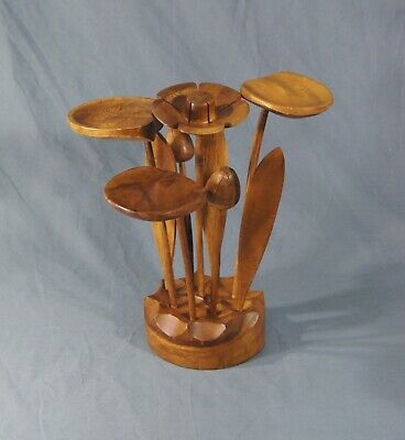 Vintage Mid Century Modern Wood Flowers Carved Centerpiece