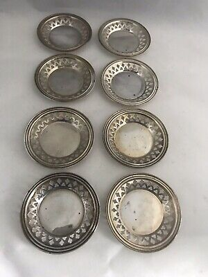 Antique SSMC Brand STERLING SILVER Set Of 8 BUTTER PATS Pierced Design
