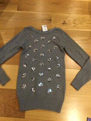 H&M Grey Sparkly Heart Tunic Jumper Age 12-14 Years Brand New With Tags