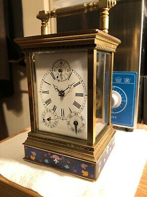 French Style Floral Blue Enamel Brass 8-Day Giant Carriage Clock