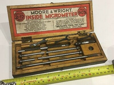 Vintage Moore & Wright 2-12 Inches Internal Inside Micrometer Original Box 903