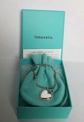"Tiffany & Co Beaded Edge Heart Pendant Necklace 925 16"" retired w/ box + pouch"