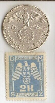 "#-3)-*antique- *WWII-*german SILVER EAGLE  coin/stamp +*egyp.""king TUT"" coin"