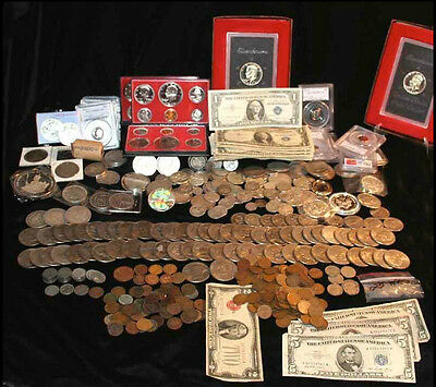 Estate Coin Collection 1 Pound Old USA w Silver coins & wheatbacks LARGE VALUE