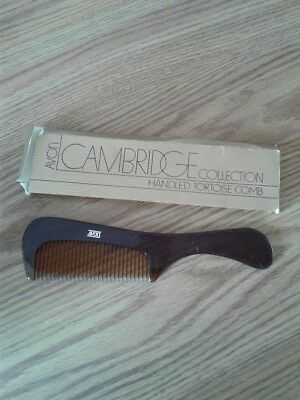 Avon Vintage 1981 CAMBRIDGE Collection Handled Tortoise Wide Tooth Comb MINT