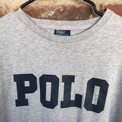Vintage 90s Polo Ralph Lauren T-Shirt Mens M Big Spell Out Heather Gray Tee EUC