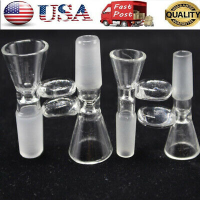 US 14/18mm Male Glass Slide Bowl With Round Handle Clear Slide Funnel Type 78