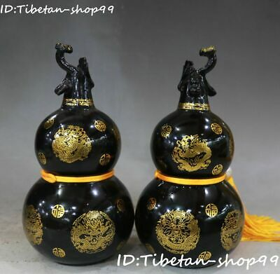 Natural Green Jade Gild Dragon Lagenaria siceraria Gourd Bottle Vase Jar Pair